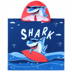 Полотенце-пончо, пончо, темно-синее. Акула - серфер. 60*120 см. Микрофибра.