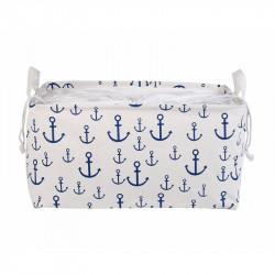 Корзина для игрушек на завязках, прямоугольная, белая. Море.