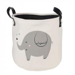 Корзина для игрушек с подкладкой, белая. Смешной слоник.
