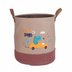 Корзина для игрушек с подкладкой, коричневая. Дино - водитель.