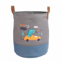 Корзина для игрушек с подкладкой, серая. Дино - водитель.