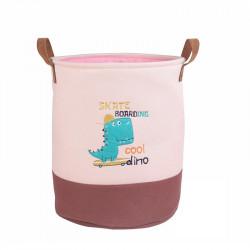 Корзина для игрушек с подкладкой, розовая. Дино - скейтбордист.