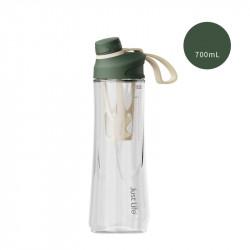 Бутылка с ситечком пластиковая, шейкер, темно-зеленая. Just Life. 700 мл.