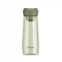 Бутылка с ситечком пластиковая, оливковая. Enjoy Time. 500 мл.