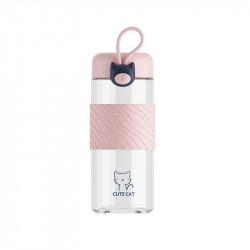 Бутылка стеклянная с силиконовой вставкой, розовая. Милый кот. 300 мл.