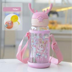 Бутылка с рожками детская пластиковая с силиконовым чехлом, поильник, розовая. Зайчишка. 700 мл.