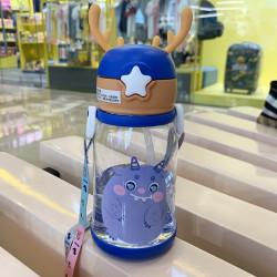 Бутылка с рожками детская пластиковая, синяя. Монстрик. 600 мл.