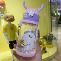 Бутылка с рожками детская пластиковая, розовая. Поняшка. 600 мл.
