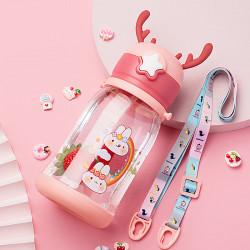 Бутылка с рожками детская пластиковая, бордовая. Зайки и радуга. 600 мл.