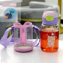 Бутылка детская пластиковая с силиконовым чехлом, поильник, желтая. Песик с красками. 550 мл.