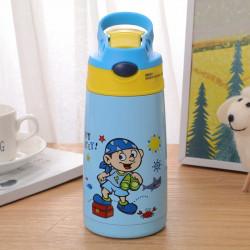 Термос детский, термос-поильник, голубой. Мальчик - пират. 400 мл.