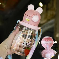 Бутылка детская пластиковая, поильник, розовая. Нарисованный зайчик. 600 мл.