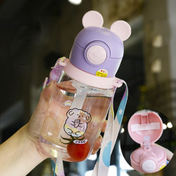 Бутылка детская пластиковая, поильник, фиолетовая. Нарисованный барашек. 600 мл.