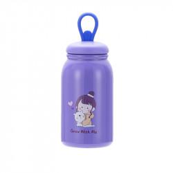 Термос детский, фиолетовый. Девочка с мишкой. 350 мл.