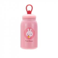 Термос детский, розовый. Зайка с морковкой. 350 мл.