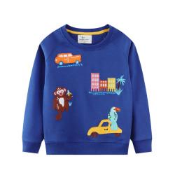 Кофта для мальчика, синяя. Животные в городе.