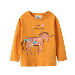 Кофта для девочки, реглан, оранжевая. Единорог в цветы.