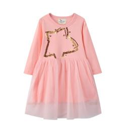 Платье для девочки, розовое. Золотая звезда.