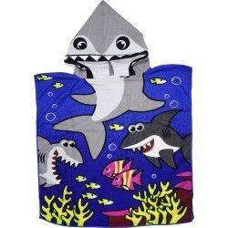 Детское полотенце пончо. Акула - синяя. 60*60 микрофибра.