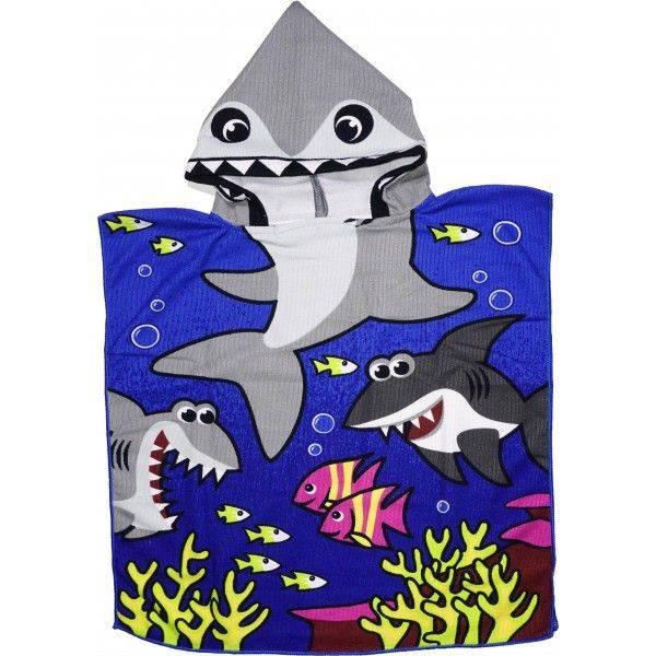 Детское полотенце пончо, Акула - синяя.