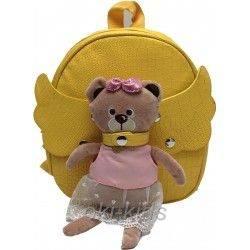 Детский рюкзак для девочки. Мишутка, желтый.
