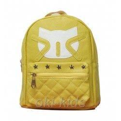 Детский рюкзак для девочки. Котик, желтый.
