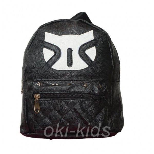 Детский рюкзак для девочки. Котик, черный.