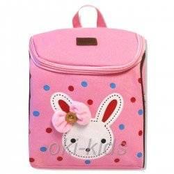 Детский рюкзак Зайка с пуговкой розовый
