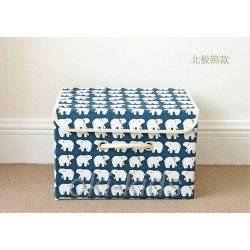 Ящик для белья и игрушек с крышкой. Белый мишка.