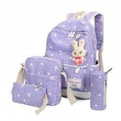 Набор школьный! Рюкзак, сумка, пенал, косметичка. Зайчик сиреневый