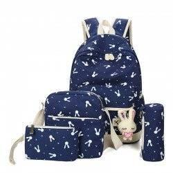 Набор школьный! Рюкзак, сумка, пенал, косметичка. Зайчик синий