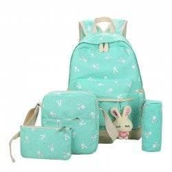 Набор школьный! Рюкзак, сумка, пенал, косметичка. Зайчик мятный