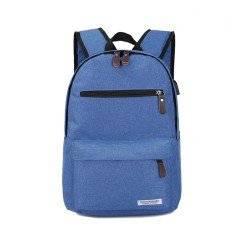 Рюкзак, городской, с USB подключением, для ноутбука, голубой