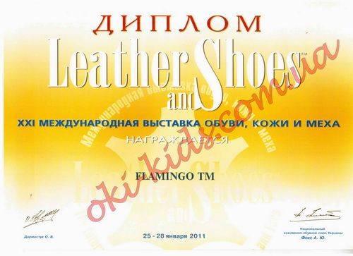 Диплом участия в XXI международной выставке обуви, кожи и меха